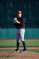 Detroit Tigers relief pitcher Kyle Funkhouser (76) gets ready to deliver a pitch during a Grapefruit League Spring Training game against the Baltimore Orioles on March 3, 2019 at Ed Smith Stadium in Sarasota, Florida.  Baltimore defeated Detroit 7-5.  (Mike Janes/Four Seam Images)