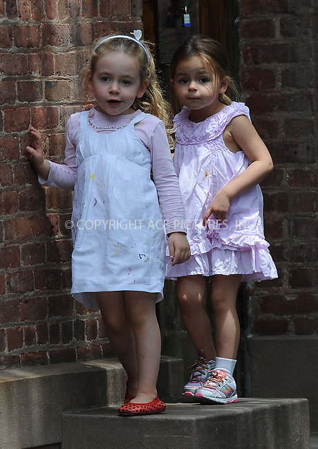 WWW.ACEPIXS.COM . . . . . .May 29, 2013...New York City....The Broderick twins with nanny in the West Village on May 29, 2013 in New York City. ....Please byline: Kristin Callahan....WWW.ACEPIXS.COM.. . . . . . ..Ace Pictures, Inc: ..tel: (212) 243 8787 or (646) 769 0430..e-mail: info@acepixs.com..web: http://www.acepixs.com .
