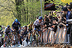 The lead group with Matteo Trentin (ITA) Mitchelton-Scott, Luke Rowe (WAL) Team Sky, Mike Teunissen (NED) Jumbo-Visma, Peter Sagan (SVK) Bora-Hansgrohe and Edward Theuns (BEL) Trek-Segafredo on the 2nd ascent of the Kemmelberg during the 2019 Gent-Wevelgem in Flanders Fields running 252km from Deinze to Wevelgem, Belgium. 31st March 2019.<br /> Picture: Eoin Clarke | Cyclefile<br /> <br /> All photos usage must carry mandatory copyright credit (© Cyclefile | Eoin Clarke)