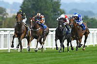 Winner of The AJN Steelstock / Pam Bruford Memorial Handicap   Konchek (white cap) ridden by Hector Crouch and trained by Clive Cox  during Horse Racing at Salisbury Racecourse on 9th August 2020