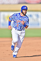 Tennessee Smokies third baseman Tommy La Stella (2) runs to third during a game against the Birmingham Barons on August 2, 2015 in Kodak, Tennessee. The Smokies defeated the Barons 5-2. (Tony Farlow/Four Seam Images)