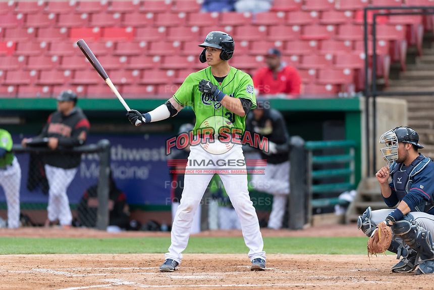 Kane County Cougars designated hitter Andy Yerzy (38) during a Midwest League game against the Cedar Rapids Kernels at Northwestern Medicine Field on April 28, 2019 in Geneva, Illinois. Cedar Rapids defeated Kane County 3-2 in game two of a doubleheader. (Zachary Lucy/Four Seam Images)