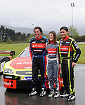 Ander Vilarino (R) car racing driver has presented his car for the European official NASCAR Championship 2014 next to his father Andres Vilarino (L) and his sister Angela (Center) in the circuit of Olaberria on March 26, 2014, Basque Country. On March 27, Ander Vilarino will begin with trainings in Nogaro Circuit, France. (Ander Gillenea / Bostok Photo)