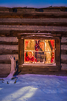 Leo and Julia Hicker peer out of the window of their historic log cabin in Wiseman, Alaska.