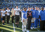 November 4, 2017:  Black Knight and Falcon players unite for each team's alma mater following the NCAA Football game between the Army West Point Black Knights and the Air Force Academy Falcons at Falcon Stadium, United States Air Force Academy, Colorado Springs, Colorado.  Army West Point defeats Air Force 21-0.