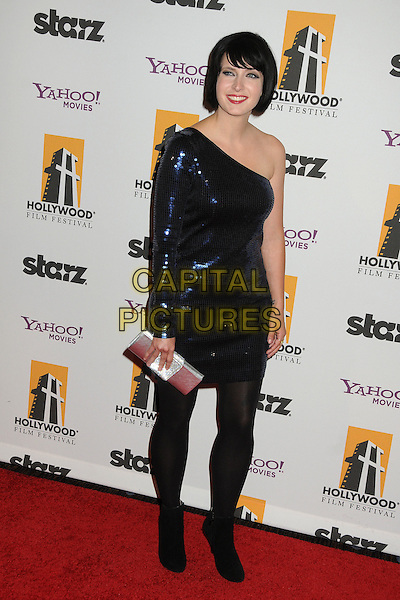 Diablo Cody.15th Annual Hollywood Film Awards Gala held at the Beverly Hilton Hotel, Beverly Hills, California, USA.  .October 24th, 2011.full length dress black tights blue one shoulder sleeve sequins sequined silver clutch bag.CAP/ADM/BP.©Byron Purvis/AdMedia/Capital Pictures.