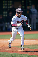 Saige Jenco (18) of the Virginia Tech Hokies hustles down the first base line against the Toledo Rockets at The Ripken Experience on February 28, 2015 in Myrtle Beach, South Carolina.  The Hokies defeated the Rockets 1-0 in 10 innings.  (Brian Westerholt/Four Seam Images)