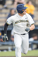 Michigan Wolverines outfielder Jonathan Engelmann (2) runs to first base against the Maryland Terrapins on April 13, 2018 in a Big Ten NCAA baseball game at Ray Fisher Stadium in Ann Arbor, Michigan. Michigan defeated Maryland 10-4. (Andrew Woolley/Four Seam Images)
