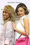 (L to R) Japanese singer Crystal Kay and Australian supermodel Miranda Kerr pose for the cameras during a talk show for the 2016 Spring Summer Samantha Thavasa Collection in Omotesando GATES building on March 16, 2016, Tokyo, Japan. Kerr is hugely popular in Japan and a regular muse for the Japanese accessory brand Samantha Thavasa. Kerr will star in a TV commercial for the brand using Crystal Kay's music. (Photo by Rodrigo Reyes Marin/AFLO)