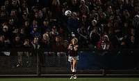 STANFORD, CA - November 25, 2011:  Camille Levin with a throw in, in front of a packed sold-out crowd in Stanford's 2-1 NCAA quarterfinal overtime victory over Oklahoma State in Stanford, California on November 25, 2011.