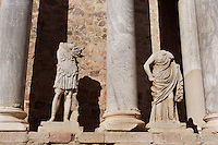 Scenae frons, built in 105 AD and restored between 333 and 335 AD, with sculptures of Emperor in military dress and Persephone; Replicas of the original sculptures dated 1st Century AD, in safe custody at the National Museum of Roman Art since 1986; Roman Theatre, built in 16 - 15 BC, promoted by Marcus Vipsanius Agrippa (63 BC-12 BC), Merida (Augusta Emerita, Capital of Hispania Ulterior), Extremadura, Spain
