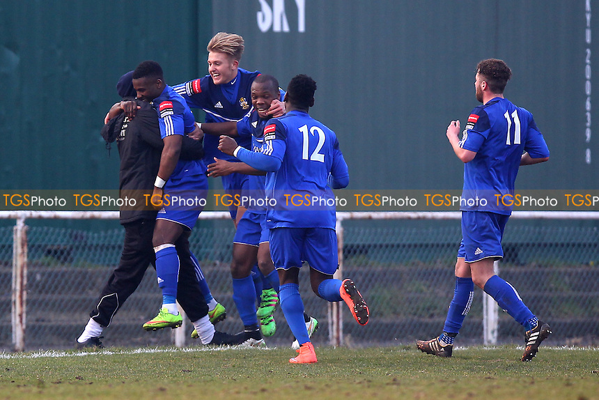 Kyle Asante scores the second goal for Aveley and celebrates with his team mates during AFC Hornchurch vs Aveley, Ryman League Divison 1 North Football at Hornchurch Stadium on 12th March 2016