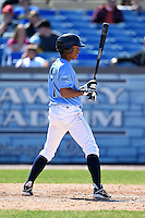 Wilmington Blue Rocks shortstop Raul Mondesi (7) during a game against the Myrtle Beach Pelicans on April 27, 2014 at Frawley Stadium in Wilmington, Delaware.  Myrtle Beach defeated Wilmington 5-2.  (Mike Janes/Four Seam Images)