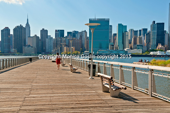 Walking on Pier 11 at Long Island City with the Manhattan skyline in the background