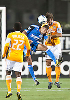 SANTA CLARA, CA – OCTOBER 16: San Jose Earthquakes forward Ryan Johnson (19) and Houston Dynamo defender Eddie Robinson (2) during a soccer match at Buck Shaw Stadium, October 16, 2010 in Santa Clara, California. Final score San Jose Earthquakes 0, Houston Dynamo 1.