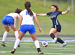 Columbia's Reagan Mauch moves the ball past St. Teresa defenders in the Class 1A girls soccer supersectional game played at Columbia High School in Columbia, IL on Tuesday May 21, 2019.<br /> Tim Vizer/Special to STLhighschoolsports.com
