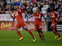 Maicon Santos (29) of Toronto FC celebrates his goal during the game at RFK Stadium in Washington, DC.  Toronto defeated D.C. United, 3-2.