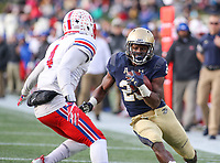Annapolis, MD - November 11, 2017: Navy Midshipmen running back Josh Brown (28) tries to avoid a tackle during the game between SMU and Navy at  Navy-Marine Corps Memorial Stadium in Annapolis, MD.   (Photo by Elliott Brown/Media Images International)