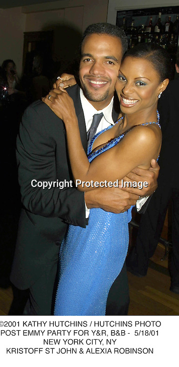 ©2001 KATHY HUTCHINS / HUTCHINS PHOTO.POST EMMY PARTY FOR Y&R, B&B -  5/18/01.NEW YORK CITY, NY.KRISTOFF ST JOHN & ALEXIA ROBINSON