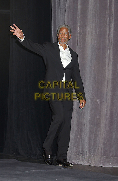"MORGAN FREEMAN.Attends the ""Edison"" World Premiere held at Roy Thomson Hall during The Toronto Film Festival,.Toronto 17th September 2005.full length white shirt black suit hand wavw waving palm.Ref: ADM/LF.www.capitalpictures.com.sales@capitalpictures.com.© Capital Pictures."