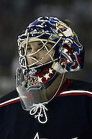 11 January 2006: Columbus Blue Jackets' Pascal Leclaire plays against the Pittsburgh Penguins at Nationwide Arena in Columbus, Ohio.<br />