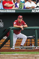 Head coach Dave Van Horn (2) of the Arkansas Razorbacks looks on during a game between the Virginia Cavaliers and Arkansas Razorbacks at TD Ameritrade Park on June 13, 2015 in Omaha, Nebraska. (Brace Hemmelgarn/Four Seam Images)