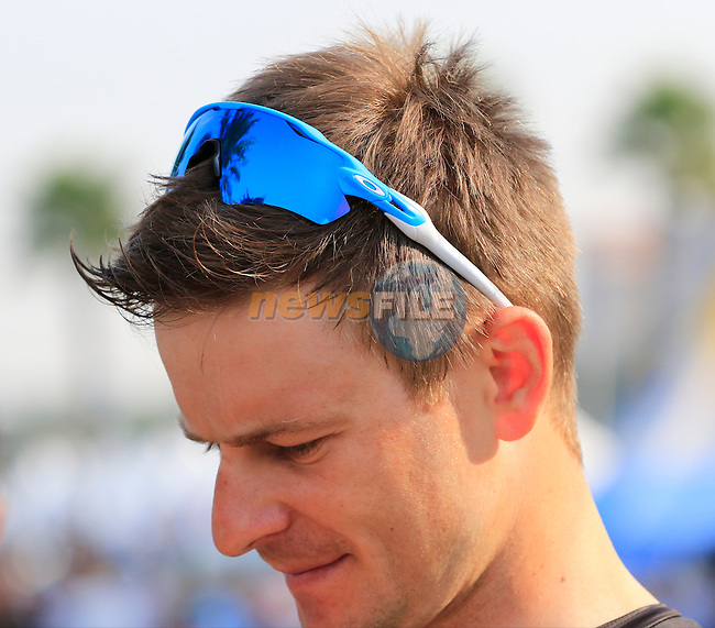 Michal Golas (POL) Team Sky before the start of Stage 2, the Nakheel Stage, of the 2016 Dubai Tour starting at the Dubai International Marine Club and running 188km to Palm Jumeirah Atlantis, Dubai, United Arab Emirates. 4th February 2016.<br /> Picture: Eoin Clarke | Newsfile<br /> <br /> <br /> All photos usage must carry mandatory copyright credit (&copy; Newsfile | Eoin Clarke)