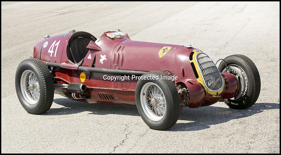 BNPS.co.uk (01202) 558833<br /> Picture: Bonhams/BNPS<br /> <br /> Historic Alfa Romeo Grand Prix winning racing car sold for a world record £6 million at the Goodwood Revival this weekend.<br /> <br /> The 77 year old Italian machine was designed to take on the might of Hitler's all conquering Mercedes 'Silver Arrows' in the 1930's and bring glory to Mussolini in a sporting battle of the dictators.<br /> <br /> One of the most collectable cars in the world, the magnificent machine, which is in full working order having been restored, won a host of Grand Prix races all over the world before the Second World War. It is being sold by auctioneers Bonhams at its Goodwood Revival sale this Saturday.<br /> <br /> It is a world record price for the famous Alfa Romeo marque.