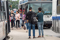 Sarnia Transit riders at the Murphy Road transfer station.