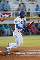 Burlington Royals infielder Jeison Guzman (7) at bat during a game against the Greeneville Reds at the Burlington Athletic Complex on July 7, 2018 in Burlington, North Carolina. Burlington defeated Greeneville 2-1. (Robert Gurganus/Four Seam Images)