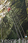 Steeplejacks from Collins Building & Steeplrjack Services in Clare abseiling down to the Grotto at Valentia Slate Quarry.