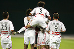 1 November 2007: Chicago teammates celebrate a first half goal by Chris Rolfe (not visible behind #3 Calen Carr). The Chicago Fire tied DC United 2-2 at RFK Stadium in Washington, DC in the second leg of a first round Major League Soccer playoff match. Chicago advanced on aggregate goals, 3-2.