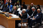 Palestinian President Mahmoud Abbas, delivering a speech at the Security Council in New York, United States on February 11, 2020. Photo by Thaer Ganaim