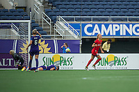 Orlando, FL - Sunday June 26, 2016: Dagny Brynjarsdottir celebrates scoring  during a regular season National Women's Soccer League (NWSL) match between the Orlando Pride and the Portland Thorns FC at Camping World Stadium.