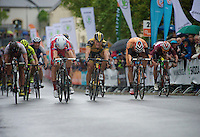 winner: Alexander Porsev of Katusha (RUS) beating Gerald Ciolek (DEU) by a hair over the finish line<br /> <br /> 2013 Tour of Luxemburg<br /> stage 1: Luxembourg - Hautcharage (184km)