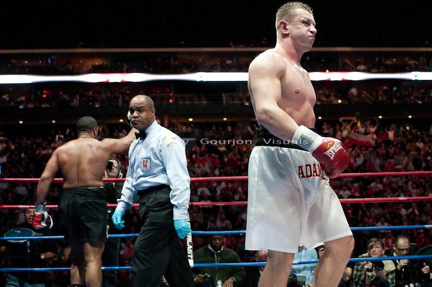 Newark, N.J, February 6th, 2010: A frustrated Tomasz Adamek returns to his corner during  his IBF Heavyweight International Championship fight against Jason Estrada at the Prudential Center Arena. Adamek won by unanimous decision and retained his belt. Photo by Thierry Gourjon