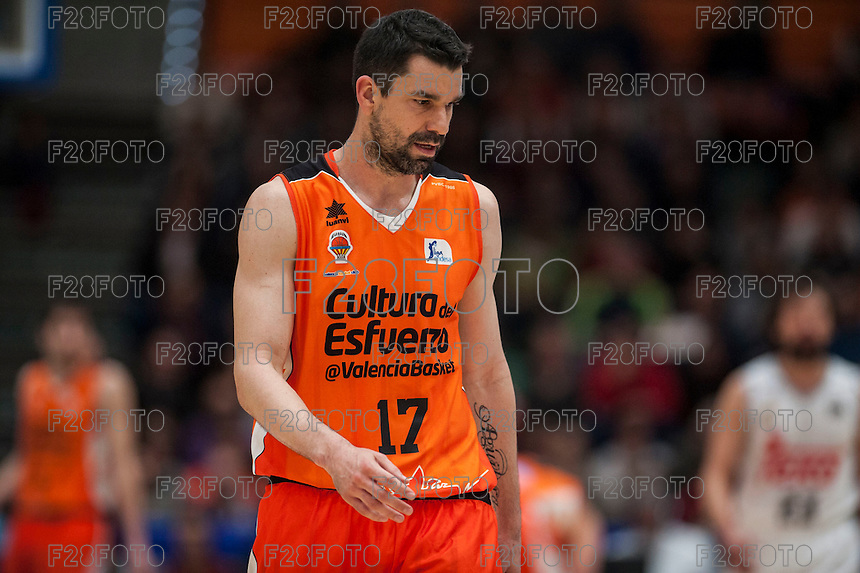 VALENCIA, SPAIN - FEBRUARY 28: Rafa Martinez during ENDESA LEAGUE match between Valencia Basket Club and Real Madrid at Fonteta Stadium on   February, 2016 in Valencia, Spain