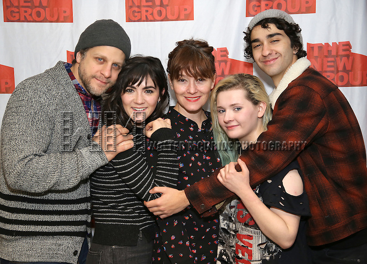 """Joe Tippett, Isabelle Fuhrman, Erica Schmidt, Abigail Breslin, and Alex Wolff attend the New Group's """"All the Fine Boys"""" rehearsal photocall at their rehearsal studio on February 3, 2017 in New York City."""