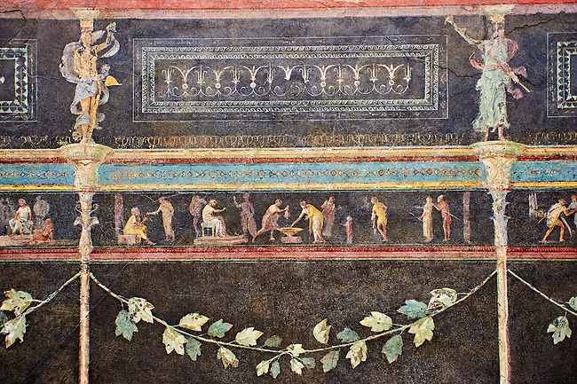 """Roman fresco wall decorations of the Triclinium C, Villa Farnesia, Rome. Museo Nazionale Romano ( National Roman Museum), Rome, Italy.<br /> <br /> In the center of the dining room was a table, with three couches (klinai in Greek, hence the name """"triclinium"""") on which the diners reclined as they ate. The southern exposure of the room and its main color suggest it was meant to be used in the winter. The architect Vitruvius, writing in the 1st century after Christ, recommends a dark background that will absorb heat to make the rooms warmer in cold weather. The black color (atramentum), made from a mixture of charcoal and glue, was resistant to smoke from the fire and soot from the lamps. On the dark background delicate landscapes are painted in light colors: cityscapes with buildings, arches, and gateways, and rural scenes showing huts, animals, and rustic shrines. The lavish decoration is broken up by slender columns festooned with ivy. The capitals are crowned by graceful female figures (caryatids). A frieze at eye level has scenes in which the same figures keep reappearing: popular tales depicted in a lively fashion. The scenes of the frieze start with the rear of the right wall. Also on this wall, near the doorway. can be seen a restoration made in antiquity to close off another entrance. We can identify a part of the polychrome mosaic pavement of this room. with meanders and stacked cubes rendered in perspective. The modem arrangement does not reproduce the or final. but is intended to suggest the effect of the pavement in the room"""