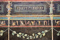 Roman fresco wall decorations of the Triclinium C, Villa Farnesia, Rome. Museo Nazionale Romano ( National Roman Museum), Rome, Italy.<br /> <br /> In the center of the dining room was a table, with three couches (klinai in Greek, hence the name &quot;triclinium&quot;) on which the diners reclined as they ate. The southern exposure of the room and its main color suggest it was meant to be used in the winter. The architect Vitruvius, writing in the 1st century after Christ, recommends a dark background that will absorb heat to make the rooms warmer in cold weather. The black color (atramentum), made from a mixture of charcoal and glue, was resistant to smoke from the fire and soot from the lamps. On the dark background delicate landscapes are painted in light colors: cityscapes with buildings, arches, and gateways, and rural scenes showing huts, animals, and rustic shrines. The lavish decoration is broken up by slender columns festooned with ivy. The capitals are crowned by graceful female figures (caryatids). A frieze at eye level has scenes in which the same figures keep reappearing: popular tales depicted in a lively fashion. The scenes of the frieze start with the rear of the right wall. Also on this wall, near the doorway. can be seen a restoration made in antiquity to close off another entrance. We can identify a part of the polychrome mosaic pavement of this room. with meanders and stacked cubes rendered in perspective. The modem arrangement does not reproduce the or final. but is intended to suggest the effect of the pavement in the room