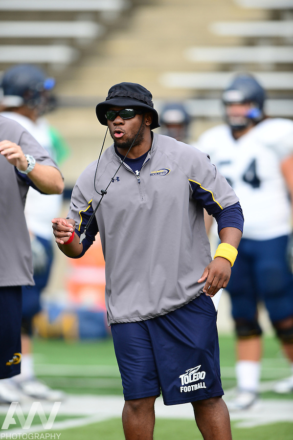 Aug 15, 2012; Toledo, OH, USA; Toledo Rockets running backs coach Louis Ayeni during practice at the Glass Bowl. Mandatory Credit: Andrew Weber-US Presswire