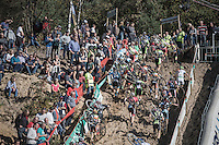 climbing out of the infamous 'Pit' during the U23 mens race<br /> <br /> CX Superprestige Zonhoven 2016