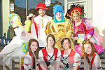 PANTO: Some of the cast from Mother Goose panto who paraded on Saturday in Tralee for the CH Chemist Santa Parade, Front l-r: Maeve Cantillon, Aisling Ringland, Phena Mulligan and Leah Kelly, Back l-r: Cathal O'Donnell (Mother Goose), Aki O'Rourke,Alan Teahan, and Anna Curtin............................ ..........