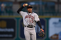 Quad Cities River Bandits third baseman Enmanuel Valdez (13) during a Midwest League game against the Fort Wayne TinCaps at Parkview Field on May 3, 2019 in Fort Wayne, Indiana. Quad Cities defeated Fort Wayne 4-3. (Zachary Lucy/Four Seam Images)