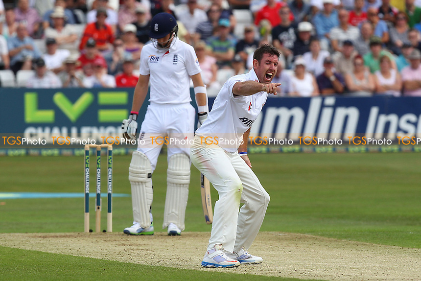 David Masters of Essex appeals for the wicket of Joe Root - Essex CCC vs England - LV Challenge Match at the Essex County Ground, Chelmsford - 30/06/13 - MANDATORY CREDIT: Gavin Ellis/TGSPHOTO - Self billing applies where appropriate - 0845 094 6026 - contact@tgsphoto.co.uk - NO UNPAID USE