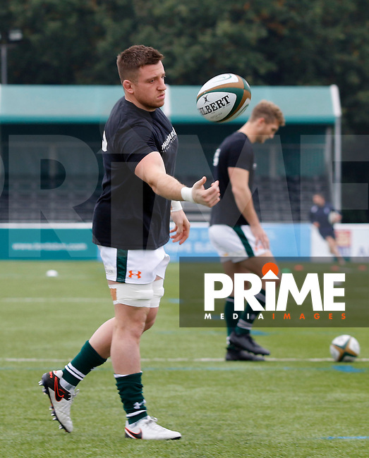 Ealing's Arthur Ellis seen in the warm up during the Greene King IPA Championship match between Ealing Trailfinders and Bedford Blues at Castle Bar , West Ealing , England  on 29 October 2016. Photo by Carlton Myrie / PRiME Media
