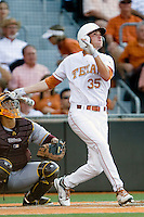 Texas Longhorn centerfielder Paul Montalbano #35 follows through against the Arizona State Sun Devils  in NCAA Tournament Super Regional Game #3 on June 12, 2011 at Disch Falk Field in Austin, Texas. (Photo by Andrew Woolley / Four Seam Images)