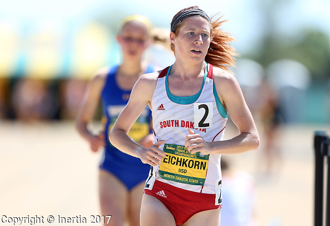 FARGO, ND - MAY 13: Amber Eichkorn from the University of South Dakota wins the women's 5,000 meter run Saturday at the 2017 Summit League Outdoor Track Championship at the Ellig Sports Complex in Fargo, ND. (Photo by Dave Eggen/Inertia)