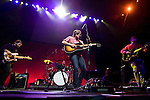 Death Cab For Cutie's bassists Nicholas Harmer, guitarist Ben Gibbard, drummer Jason McGerr and guitarist Chris Wlla, left to right, performs at a benefit show for the Seeds of Compassion initiative . on April 11, 2008 at the Key Arena in Seattle. The Concert is part of the five-day celebration that centers on the Dalai Lama's visit. Jim Bryant Photo. ©2008. All Rights Reserved..