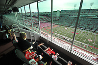 NWA Democrat-Gazette/MICHAEL WOODS • @NWAMICHAELW<br /> Chery (right)l and Hannah Story of Fayetteville watch the pre game activities from the Arvest suite as the Razorbacks prepare to play Texas Tech Saturday September 19, 2015 at Razorback Stadium in Fayetteville.